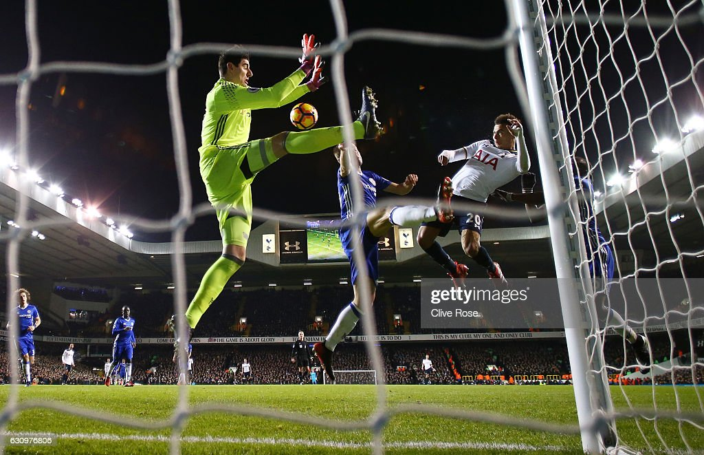 Dele Alli of Tottenham Hotspur (R) scores his sides second goal with a header during the Premier League match between Tottenham Hotspur and Chelsea at White Hart Lane on January 4, 2017 in London, England.