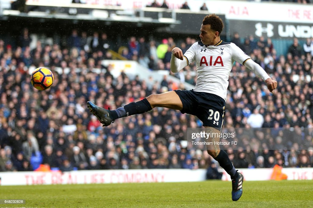 Dele Alli of Tottenham Hotspur scores his sides third goal during the Premier League match between Tottenham Hotspur and Everton at White Hart Lane on March 5, 2017 in London, England.