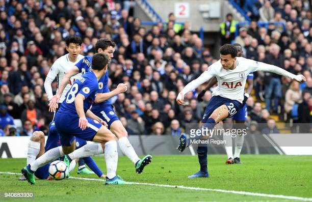 Dele Alli of Tottenham Hotspur scores his sides third goal during the Premier League match between Chelsea and Tottenham Hotspur at Stamford Bridge...