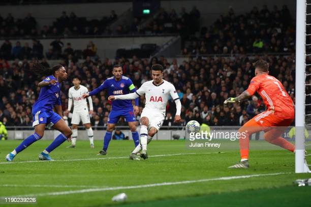 Dele Alli of Tottenham Hotspur scores his team's first goal during the UEFA Champions League group B match between Tottenham Hotspur and Olympiacos...