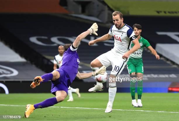 Dele Alli of Tottenham Hotspur scores his team's first goal during the UEFA Europa League play-off match between Tottenham Hotspur and Maccabi Haifa...