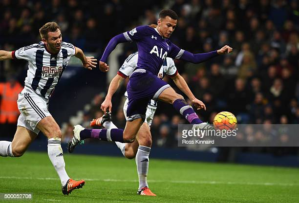 Dele Alli of Tottenham Hotspur scores his team's first goal during the Barclays Premier League match between West Bromwich Albion and Tottenham...