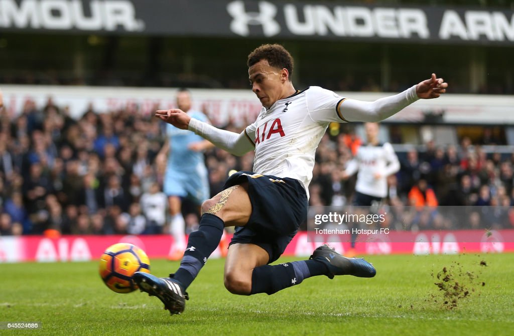 Dele Alli of Tottenham Hotspur scores his teams fourth goal during the Premier League match between Tottenham Hotspur and Stoke City at White Hart Lane on February 26, 2017 in London, England.