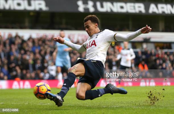 Dele Alli of Tottenham Hotspur scores his teams fourth goal during the Premier League match between Tottenham Hotspur and Stoke City at White Hart...
