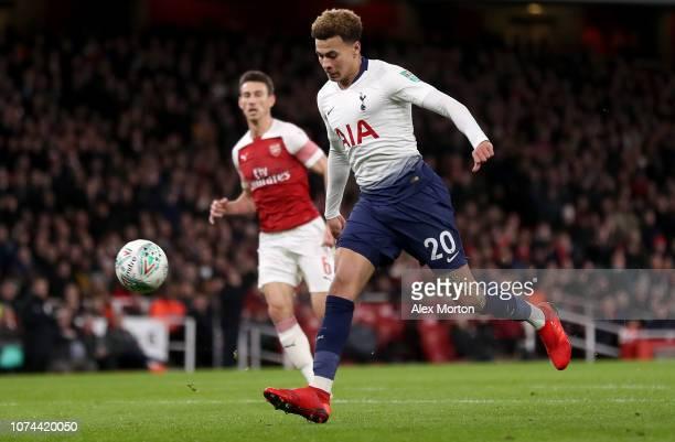 Dele Alli of Tottenham Hotspur scores his team's second goal during the Carabao Cup Quarter Final match between Arsenal and Tottenham Hotspur at...