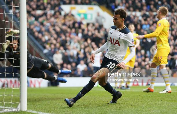 Dele Alli of Tottenham Hotspur scores their fourth goal during The Emirates FA Cup QuarterFinal match between Tottenham Hotspur and Millwall at White...