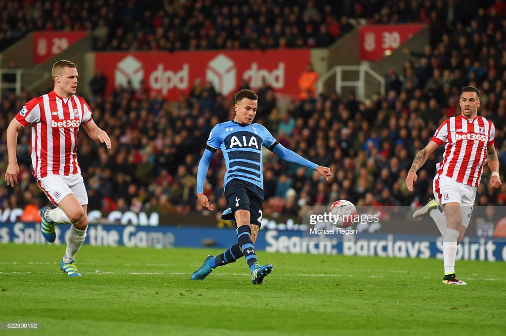 Dele Alli of Tottenham Hotspur (C) scores their second goal during the Barclays Premier League match between Stoke City and Tottenham Hotspur at the Britannia Stadium on April 18, 2016 in Stoke on Trent, England.