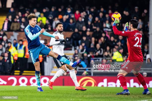 Dele Alli of Tottenham Hotspur scoring goal during the Premier League match between Fulham FC and Tottenham Hotspur at Craven Cottage on January 20...