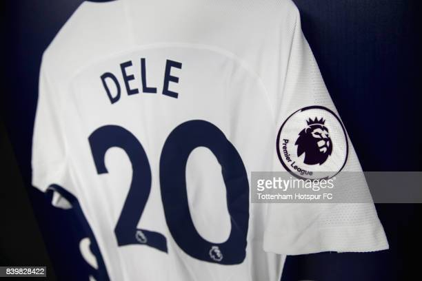 Dele Alli of Tottenham Hotspur shirt hangs in the changing room prior to the Premier League match between Tottenham Hotspur and Burnley at Wembley...