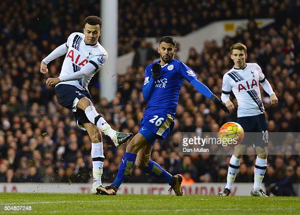 Dele Alli of Tottenham Hotspur shoots at goal during the Barclays Premier League match between Tottenham Hotspur and Leicester City at White Hart...
