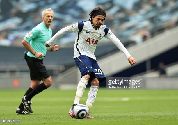 Dele Alli of Tottenham Hotspur shoots during the Premier League match between Tottenham Hotspur and Wolverhampton Wanderers at Tottenham Hotspur...