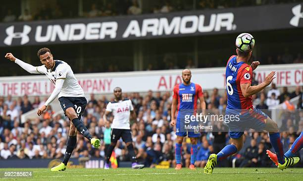 Dele Alli of Tottenham Hotspur shoots during the Premier League match between Tottenham Hotspur and Crystal Palace at White Hart Lane on August 20...