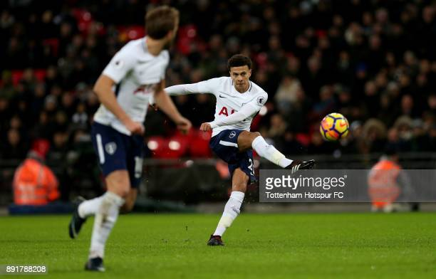 Dele Alli of Tottenham Hotspur shoots during the Premier League match between Tottenham Hotspur and Brighton and Hove Albion at Wembley Stadium on...