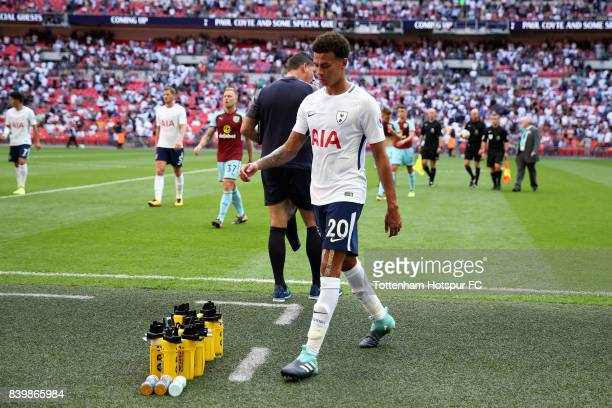 Dele Alli of Tottenham Hotspur walks off at half time during the Premier League match between Tottenham Hotspur and Burnley at Wembley Stadium on...