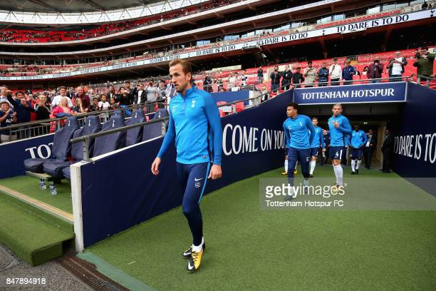 Dele Alli of Tottenham Hotspur walks out to warm up prior to the Premier League match between Tottenham Hotspur and Swansea City at Wembley Stadium...