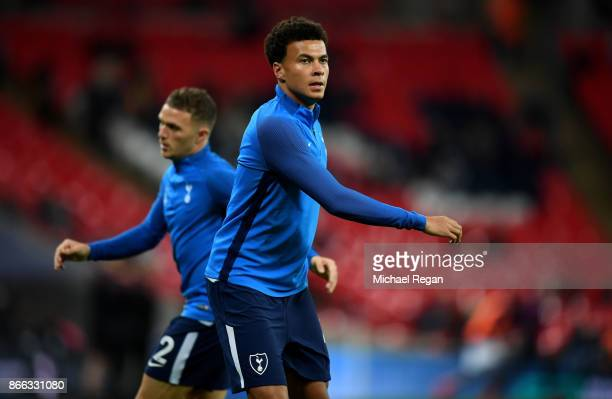 Dele Alli of Tottenham Hotspur warms up prior to the Carabao Cup Fourth Round match between Tottenham Hotspur and West Ham United at Wembley Stadium...