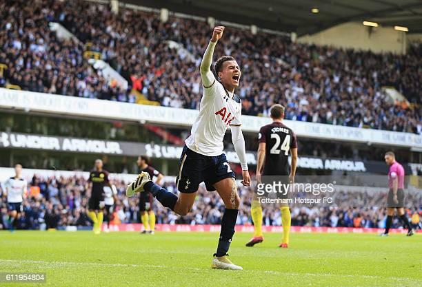 Dele Alli of Tottenham Hotspurcelebrates scoring his sides second goal during the Premier League match between Tottenham Hotspur and Manchester City...