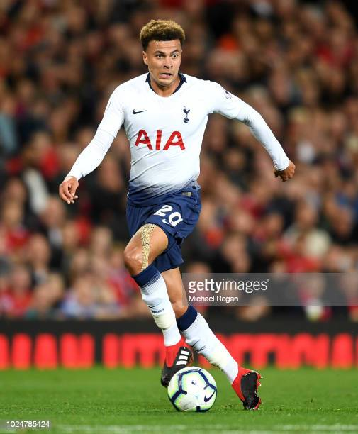 Dele Alli of Tottenham in action during the Premier League match between Manchester United and Tottenham Hotspur at Old Trafford on August 27 2018 in...