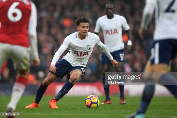Dele Alli of Tottenham in action during the Premier League match between Arsenal and Tottenham Hotspur at Emirates Stadium on November 18 2017 in...