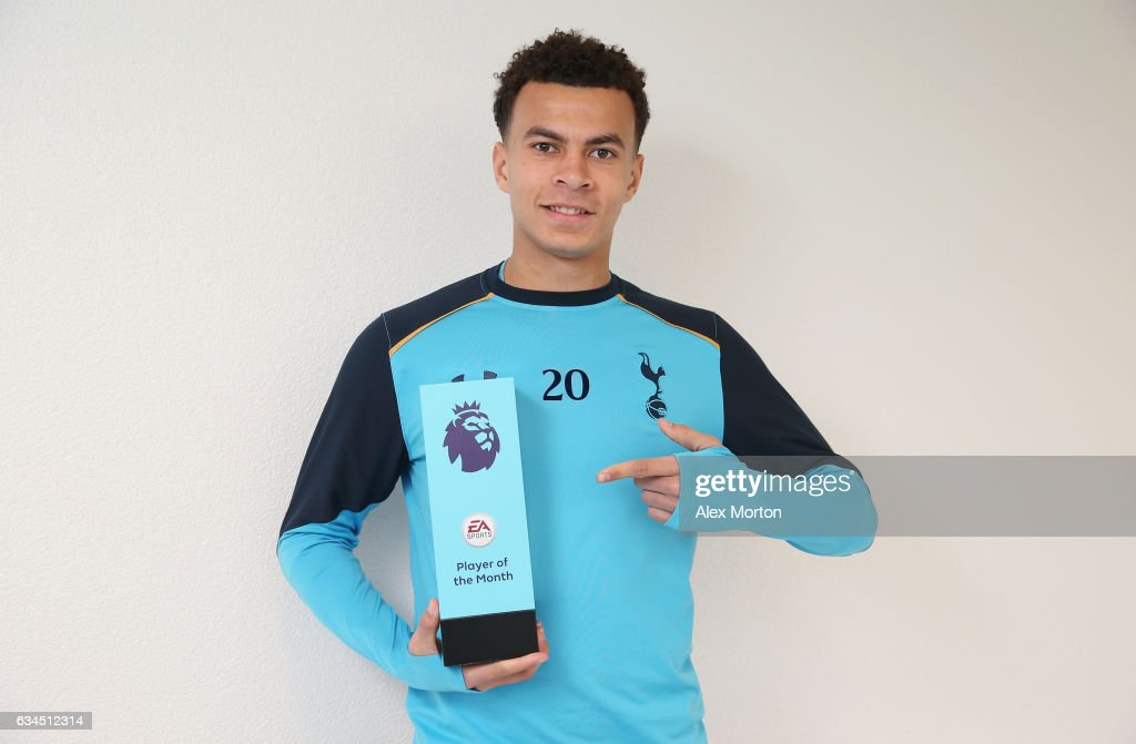 Dele Alli of Tottenham poses with the Premier League Player Of The Month award at Tottenham Hotspur Training Centre on February 9, 2017 in Enfield, England.