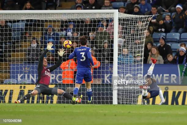 Dele Alli of Tottenham scores a goal to make it 20 during the Premier League match between Leicester City and Tottenham Hotspur at The King Power...