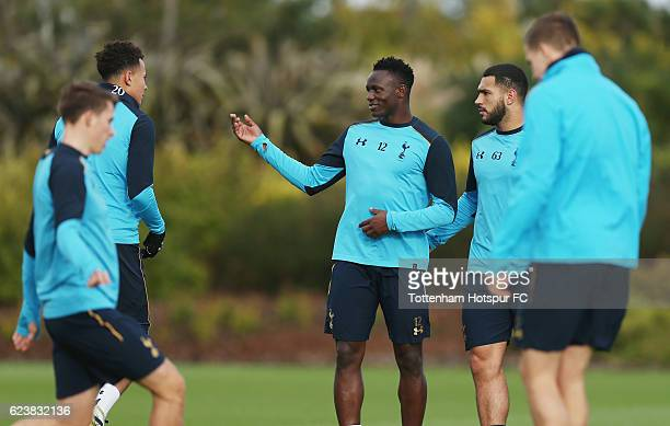 Dele Alli Victor Wanyama and Cameron CarterVickers during the Tottenham Hotspur training session at Tottenham Hotspur Training Centre on November 17...