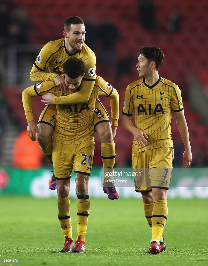 Dele Alli (20), Vincent Janssen (9) and Heung-Min Son of Tottenham Hotspur celebrate victory after the Premier League match between Southampton and Tottenham Hotspur at St Mary's Stadium on December 28, 2016 in Southampton, England.