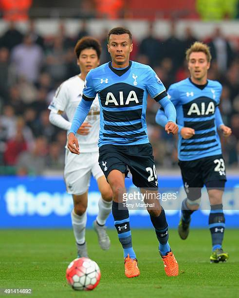 Dele Allii of Tottenham Hotspur during the Barclays Premier League match between Swansea City and Tottenham Hotpsur at the Liberty Stadium on October...