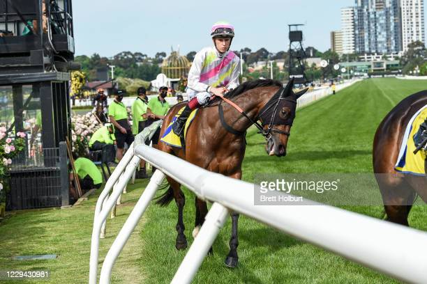 Delectation Girl ridden by Fred W Kersley prior to the The Hong Kong Jockey Club Stakes at Flemington Racecourse on November 03, 2020 in Flemington,...