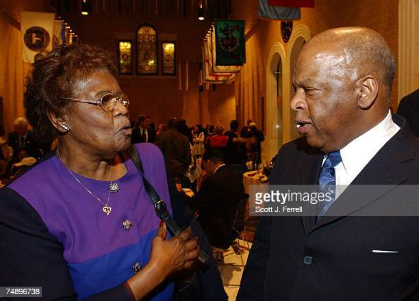 CONVENTION1964 delegate and current Mississippi Delegate Emma Sanders talks with CBC Chairman Elijah Cummings DMd during a 'Fannie Lou Hamer'...