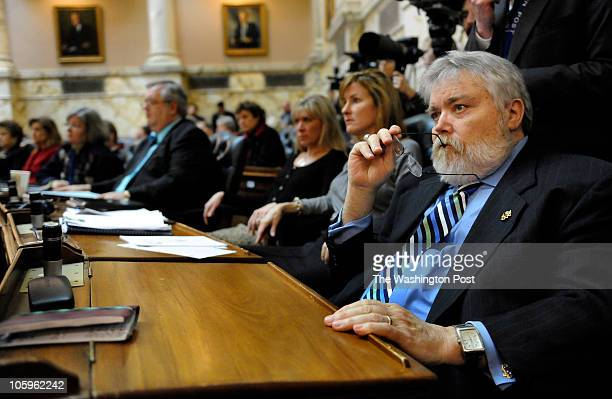 Delegate B Daniel Riley listened as Speaker of the House Michael E Busch spoke during the opening of the State of Maryland legislature on January 13...