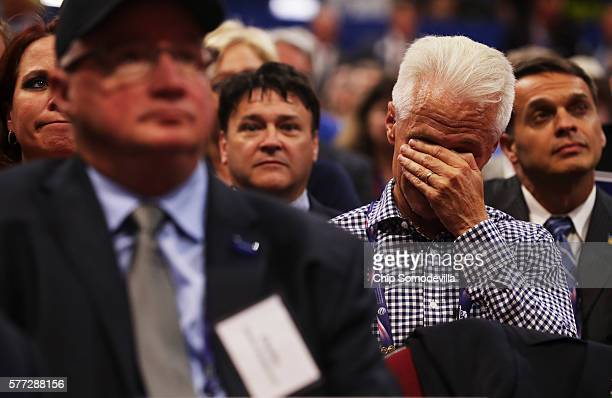 A delegate becomes emotional while listening to the speech of Pat Smith mother of Sean Smith one of the four Americans killed in the September 11...