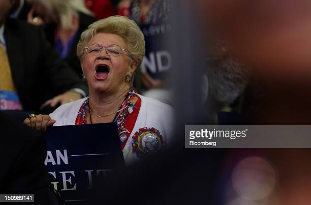 Delegate cheers at the Republican National Convention in Tampa, Florida, U.S., on Wednesday, Aug. 29, 2012. Representative Paul Ryan takes the stage...