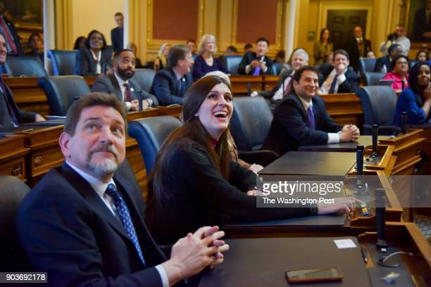 Delegate Danica Roem C casts one of her first votes on her first day in office during the opening session of the House of Delegates at the Virginia...