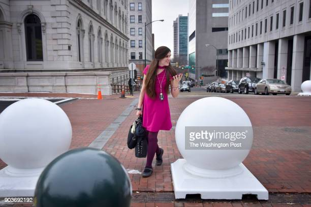 Delegate Danica Roem treks from the Virginia General Assembly Building to the Virginia Capitol on her first day in office on Wednesday January 10 in...