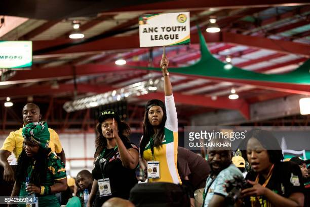 A delegate disputes the votes during a plenary meeting at the NASREC Expo Centre during the 54th ANC national congress on December 17 2017 in...