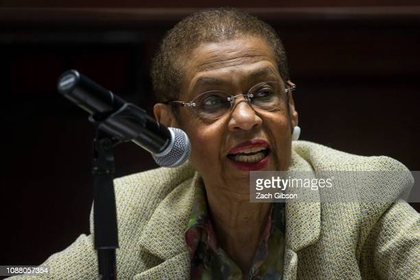 Delegate Eleanor Holmes Norton speaks during a town hall with federal employees federal contract workers and local District of Columbia businesses on...