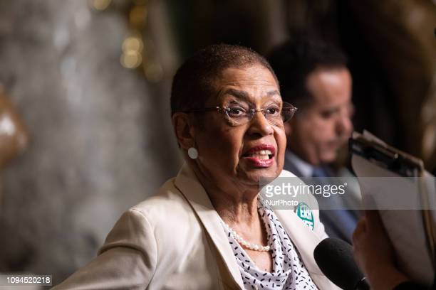 Delegate Eleanor Holmes Norton speaks to reporters after US President Donald Trump's second State of the Union address to a joint session of Congress...