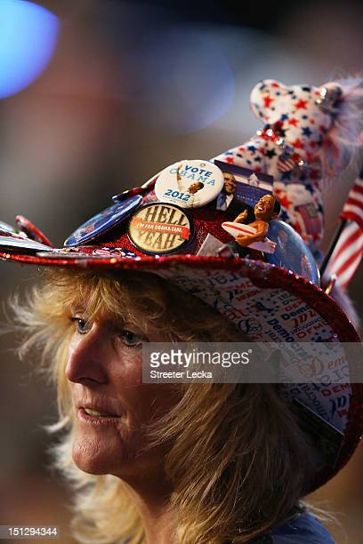 Delegate Kelly Jacobs of Mississippi wears a patriotic hat during day two of the Democratic National Convention at Time Warner Cable Arena on...