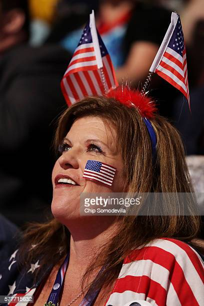 A delegate listens to speakers on the second day of the Republican National Convention on July 19 2016 at the Quicken Loans Arena in Cleveland Ohio...