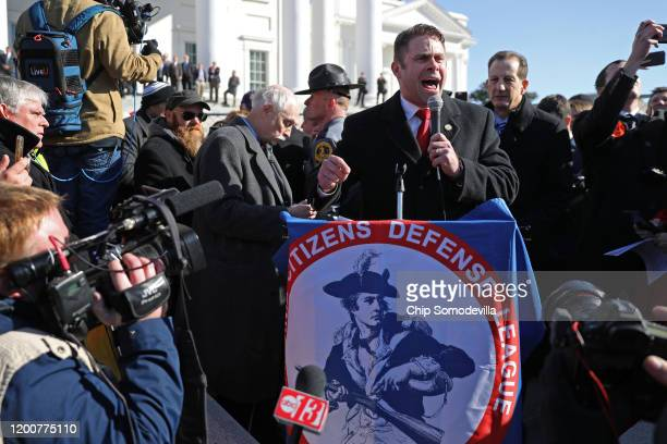 Delegate Nick Freitas speaks during a gun rights rally organized by The Virginia Citizens Defense League on Capitol Square near the state capital...