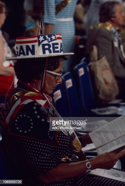 Delegate on the convention floor at the 1976 Republican National Convention Kemper Arena