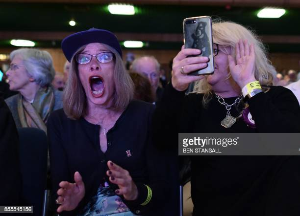 TOPSHOT A delegate reacts at the news that candidate Henry Bolton has been elected as they new leader of the UK Independence Party on the first day...