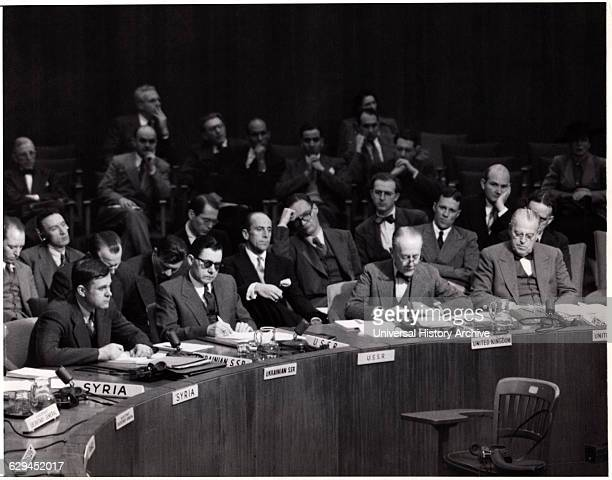 UN Delegate Sir Alexander Cadogan of Great Britain Offers Arms Embargo United Nations Lake Success New York USA May 27 1948