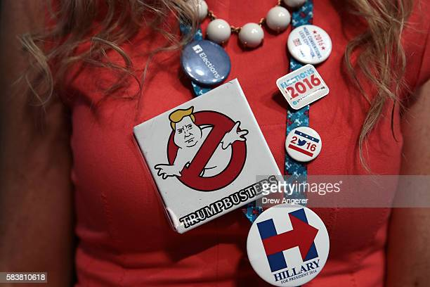 A delegate wears campaign memorabilia in support of Democratic presidential candidate Hillary Clinton on the third day of the Democratic National...