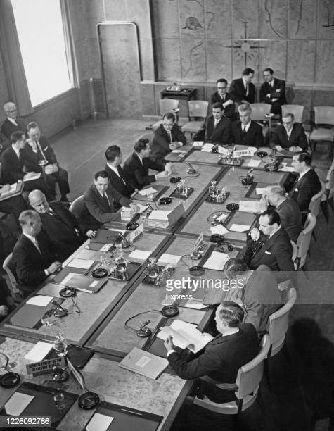 Delegates at the resumed talks on the possibility of banning nuclear tests at the Palace of Nations in Geneva Switzerland 23rd March 1961 The three...