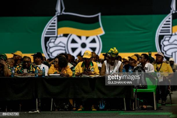 Delegates attend a plenary meeting at the NASREC Expo Centre during the 54th ANC national congress on December 17 2017 in Johannesburg South Africa's...