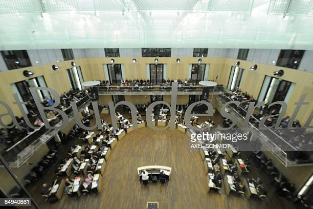Delegates attend a session at the Bundesrat on February 20 2009 in Berlin The German parliament approved the biggest stimulus package in the...