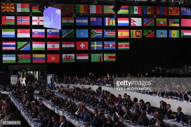 TOPSHOT Delegates attend the 68th FIFA Congress at the Expocentre in Moscow on June 13 2018