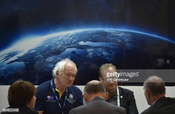 Delegates attend the 68th International Astronautical Congress 2017 in Adelaide on September 28 2017 The 68th International Astronautical Congress...